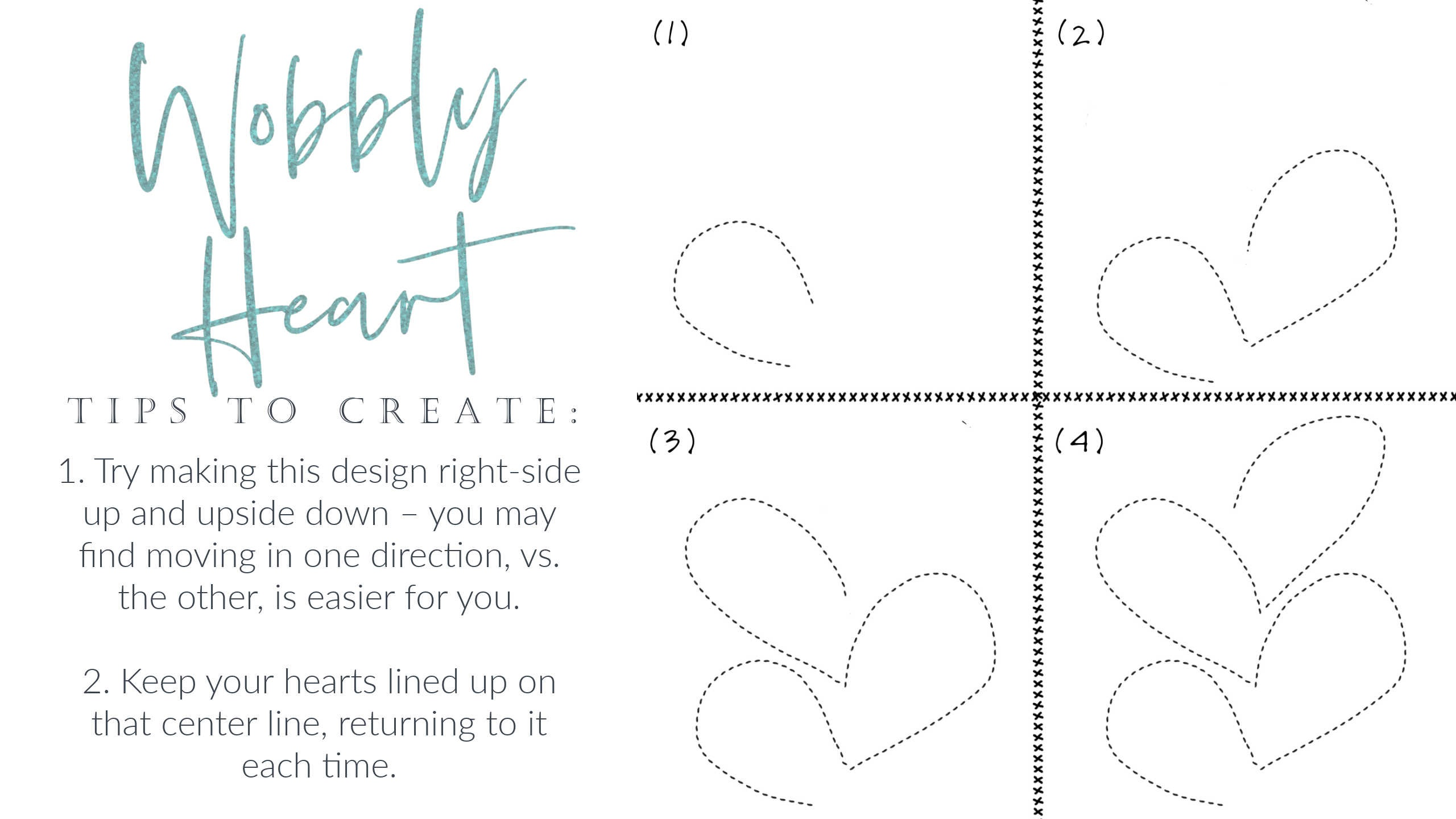 In this step-by-step video tutorial, we show you how to quilt free motion wobbly hearts (similar to feathers). By working from a central line, your wobbly hearts will gently wobble from left to right while remaining centered and even throughout your design!