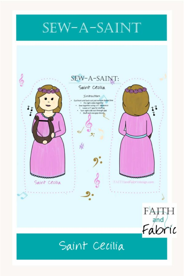 Sew your own Saint Cecilia doll with this Sew-a-Saint fabric!