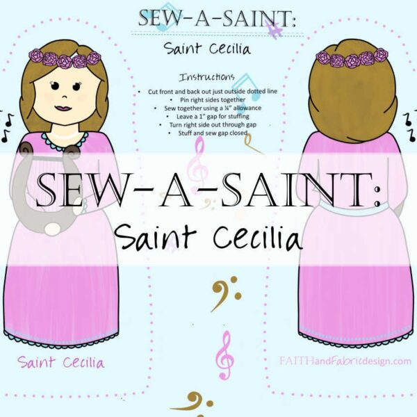 Sew a Saint St Cecilia Fabric Catholic Header Music Musician