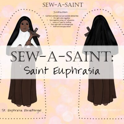 Sew a beautiful saint doll of St. Euphrasia Eluvathingal, the patron saint of India! These beginner friendly dolls come printed - front and back - on a fabric panel, complete with directions, ready to sew.