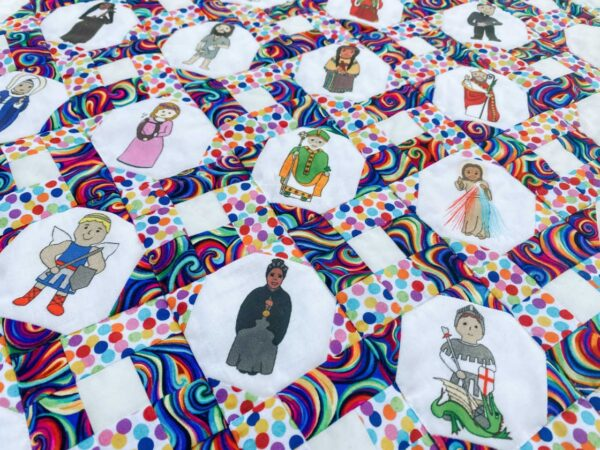 Connected Quilt Pattern Snowball Saints Fabric
