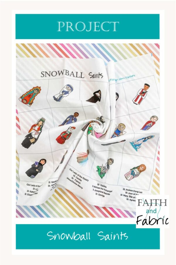 """Your imagination is the limit when you sew projects created with this panel of 24 Saints! Each tiny saint comes pre-printed on an 18""""x24"""" fabric panel with pre-designated cut lines that finish at 3""""x3"""" blocks. Choose a horizontal or on-point layout for your next sewing project!"""