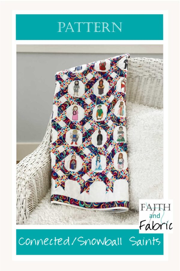 Whether this side of heaven or the other, we are all connected - and this quilt pattern captures that beautifully. Designed after the links in a chain-link fence, two fabrics wind their away around our custom-designed saints fabric, depicting 24 diverse saints from our shared history. Made with the custom fabric or with fabrics of your choice, this gorgeous on-point pattern reminds us that we all are, truly, connected to one another.