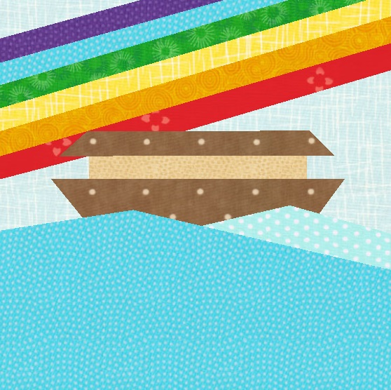 Celebrate Noah's Ark with this rainbow quilt block pattern!