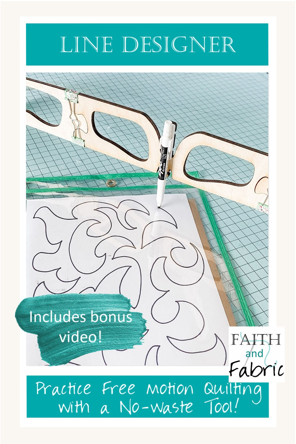 Looking for a better way to practice your Free Motion Quilting? The Line Designer tool is the answer! Practice your latest free motion quilting design on the reusable and wipeable drawing pad using a dry-erase pen; it mirrors the needle on your machine, giving you an opportunity to practice your newest FMQ design without wasting practicing pads!