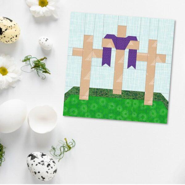 Good Friday Quilt Block Pattern Three Crosses Christian Easter Design 2