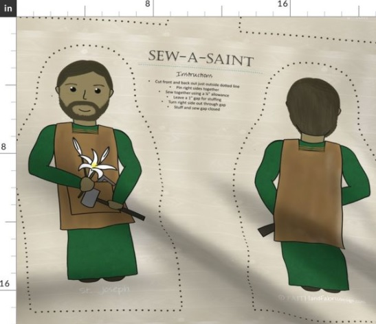 Sew your own Saint Joseph Sew-a-Saint doll with this adorable all cotton fabric panel Catholic