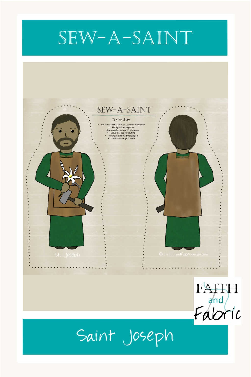 Sew your own Saint Joseph Sew-a-Saint doll with this adorable all cotton fabric panel!