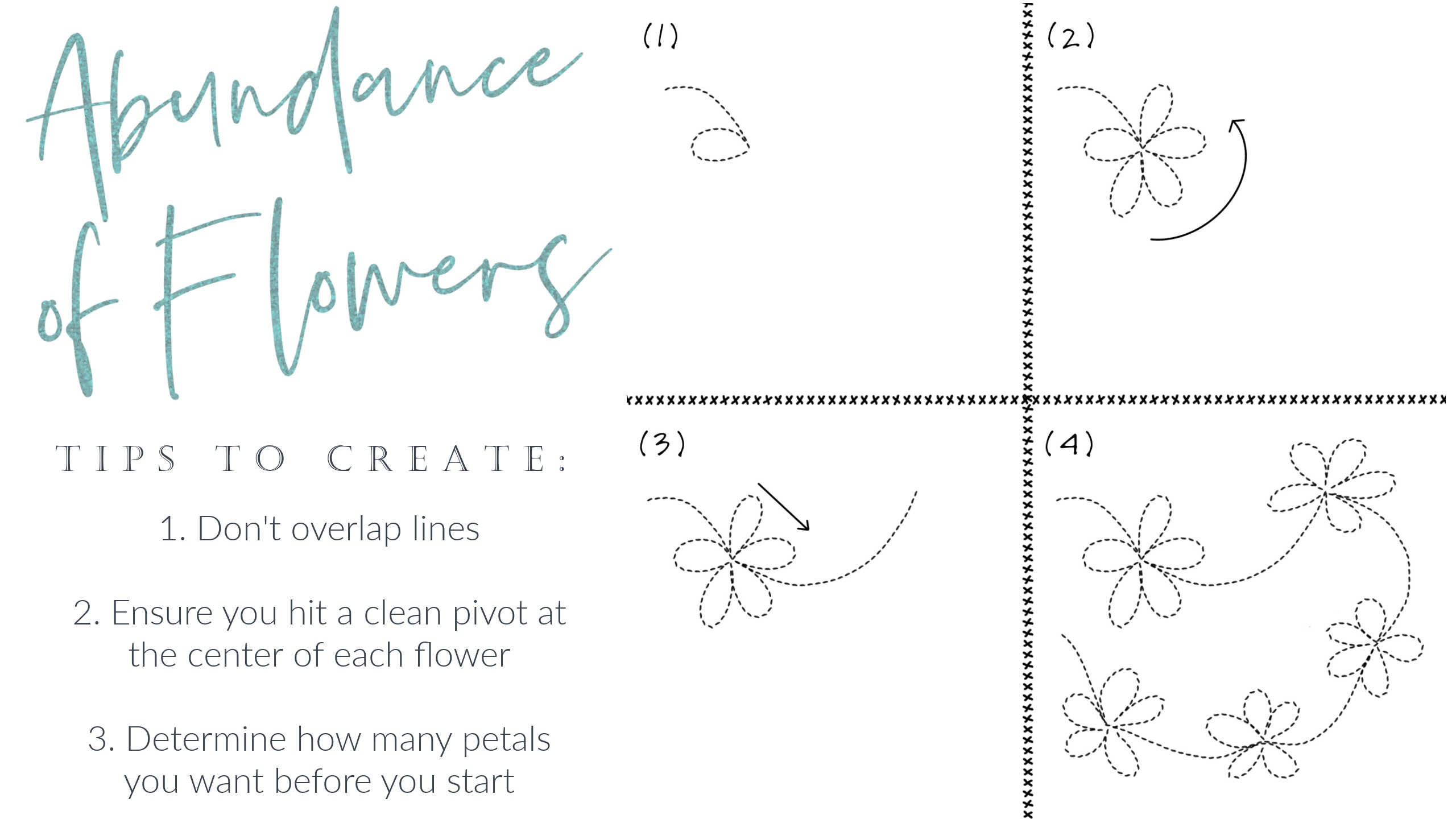 Learn How to Free Motion Quilt Flowers and Daisies with this tutorial (includes bonus video!)