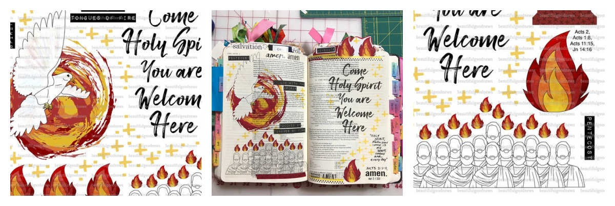 Ways to Celebrate Penetcost as a Family Bible JOurnaling