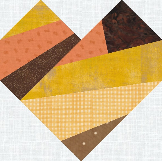Sew a scrappy improv-style heart using this foundation paper pieced quilt pattern
