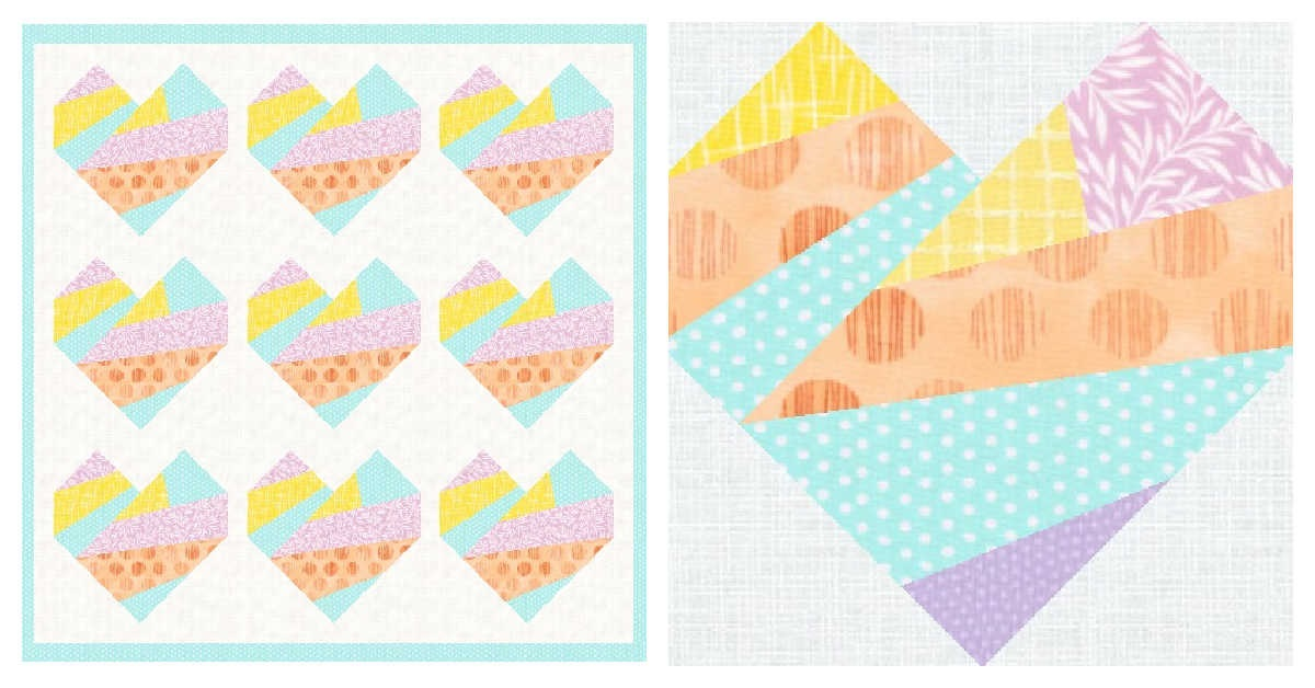 Sew a scrappy improv-style heart using this foundation paper pieced quilt pattern 3