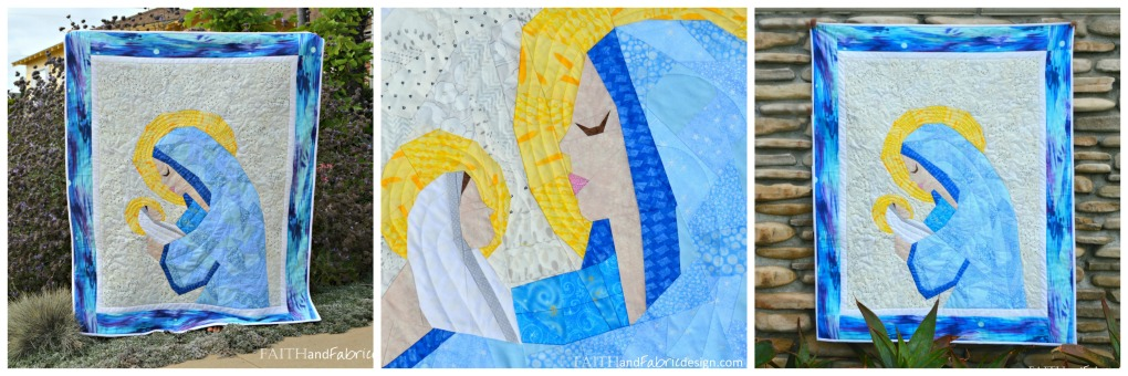Mary Jesus Christian Quilt Pattern Collage