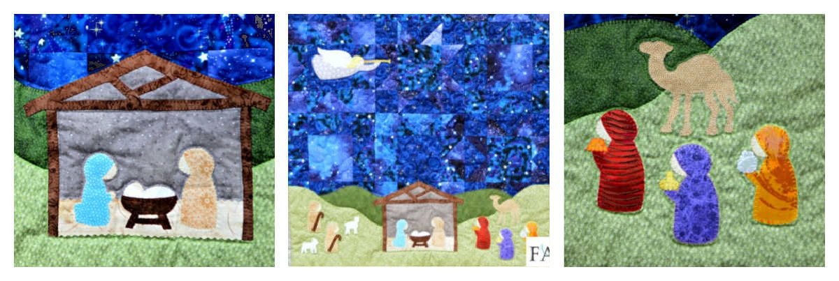 Silent Night Nativity Christmas Quilt Pattern Collage